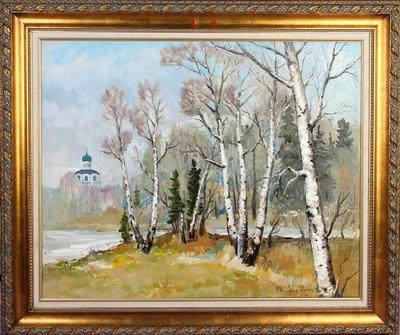 两张俄罗斯油画:《春天的白桦林》和《暖夜》